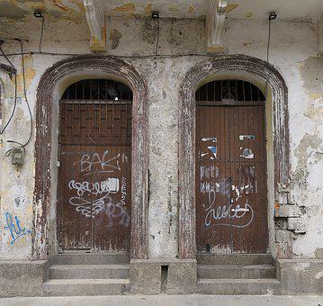 Doors, Architecture, Colonial, Graffiti, Grunge