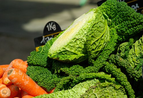 Vegetables, Carrots, Cabbage, Market