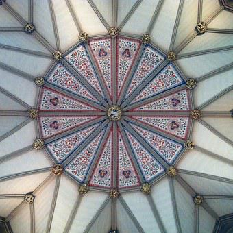 Geometry, Architecture, Building, Tiles, Ceiling, Blue