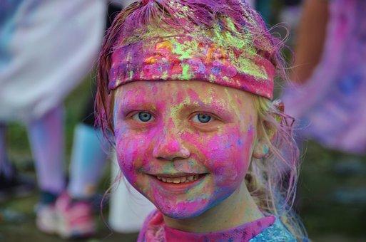 Girl, Colorful, Funny, Celebration, Color Run Festivals