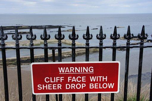 Warning, Danger, Cliff, Sign, Caution, Dangerous, Risk