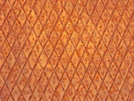 Sheet Metal, Rusty, Diamonds, Background, Texture