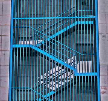 Stairs, Shadows, Blue, City, Building, External Ports