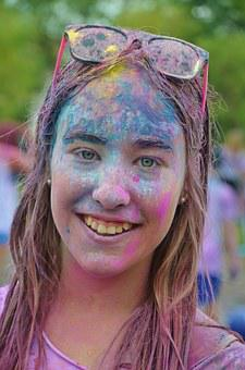 Girl, Colorful, Funny, Celebration, Run, Happy, Party