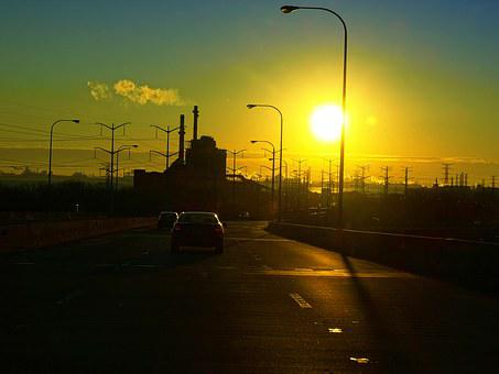Industrial, Landscape, Chicago, Sunrise, Skyway, Bridge