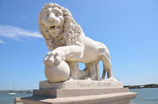 Lions Bridge, Bridge, Lion, St, Augustine, Florida