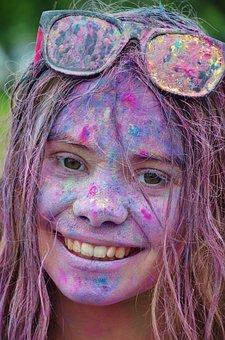 Girl, Colorful, Happy, Person, Funny, Celebration