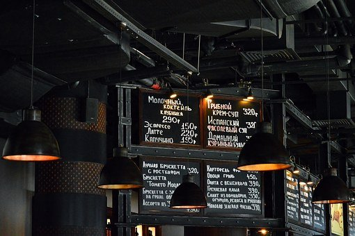 Restaurant, Menu, Dark, Industrial, Design, Lights