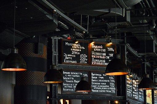 Restaurant, Menu, Dark, Industrial, Design, Lights