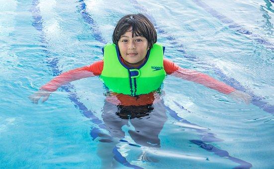 Swimming, Life Preserver, Boy, Person, Happy, Pool