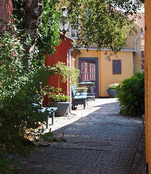 Bornholm, Denmark, The Old City, Alley, Houses, Summer
