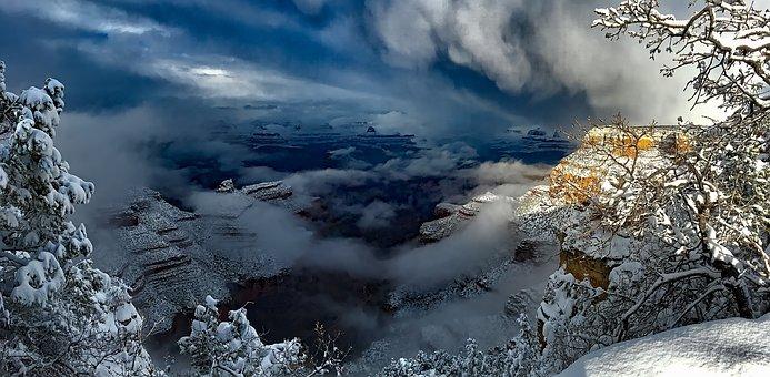 Grand Canyon, Arizona, Tourism, Snow, Winter, Trees