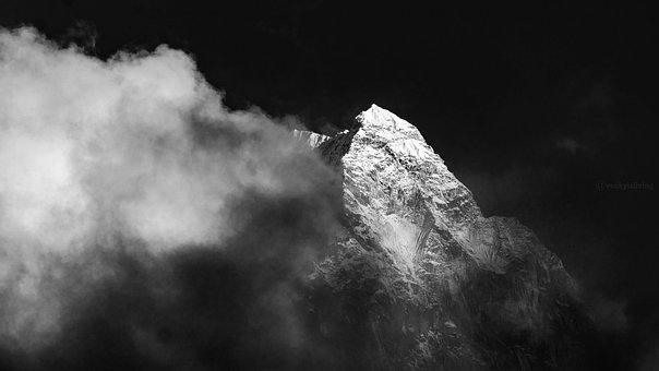 Peak, Blackandwhite, Landscape, Black, Mountain, Clouds