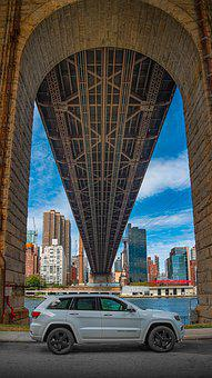 Bridge, Auto, River, City, Blue Sky, Big City