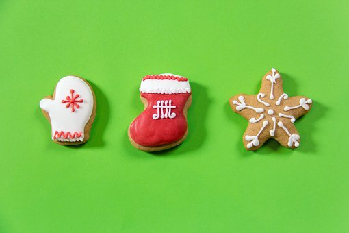 Gingerbread, Color, Set, Green, Christmas Decorations