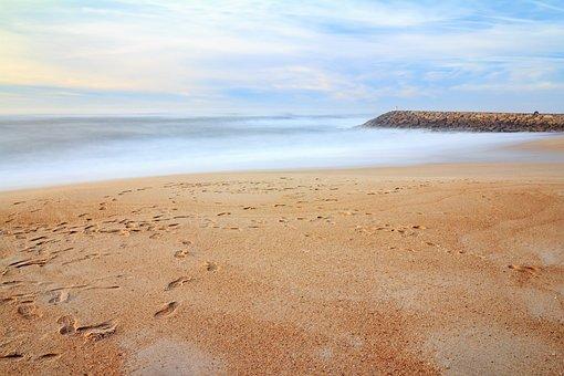 Footprints, Beach, Sea, Sand, Costa Nova, Aveiro