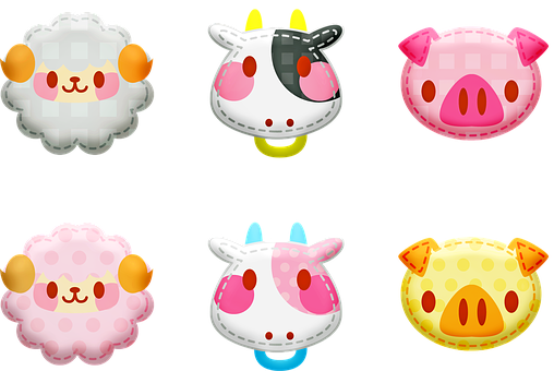Kawaii Animals, Animal Stickers, Sheep, Cow Pig, Kawaii
