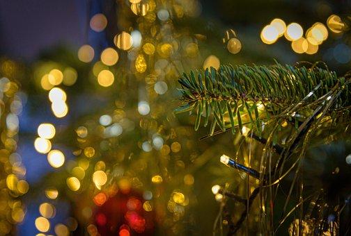 Christmas, Decoration, Christbaumkugeln, Lichterkette