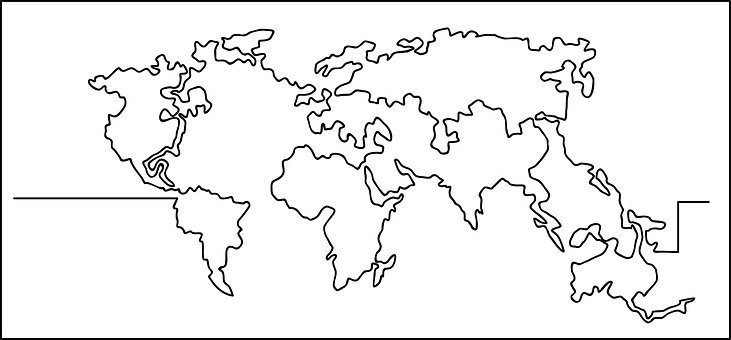 Wold Map, Single Line, Drawing, Sign, Design, Symbol