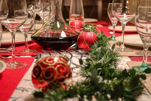 Festive, Christmas, Eat, Wine, Gourmet, Table, Glasses