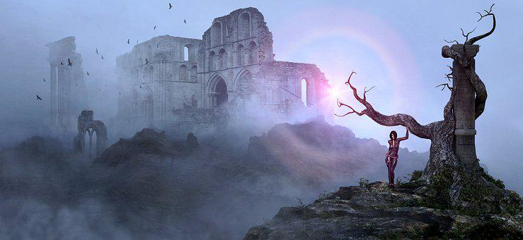 Fantasy, Ruin, Tree, Fog, Woman, Mystical, Mood