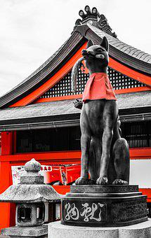 Fox, Japan, Shrine, Outdoor, Asia, Oriental, Animal