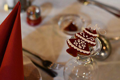 Christmas, Gingerbread, Place Setting, Dinner, Sweet