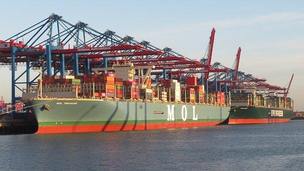 Ship, Container Ship, Hamburg, Port