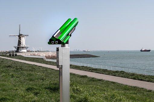 Binoculars, Windmill, Holland, Netherlands, Coast, Mill