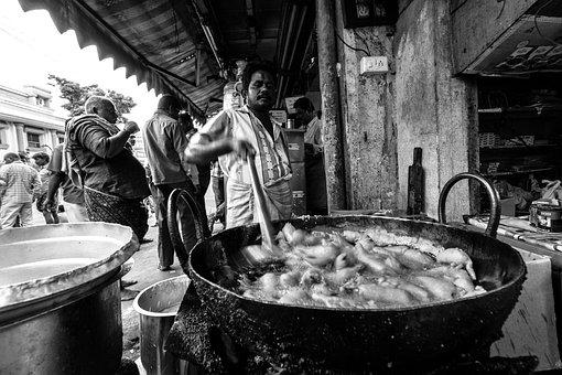 India, Street, Black And White, People, Street Food