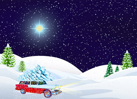 Christmas Car In Snow, Landscape, Christmas