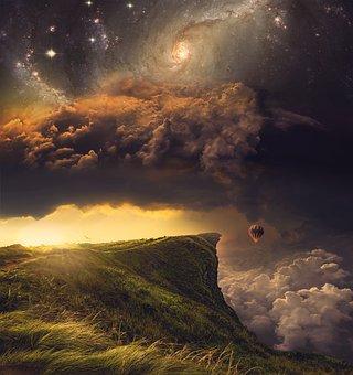 Balloon, Galaxy, Cliff, Manipulation, Journey, Mountain