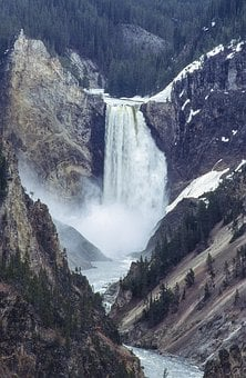 Yellowstone, Waterfall, Wyoming, Nature, Landscape