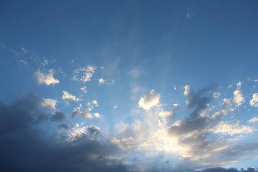 Clouds, Sunset, Sun Rays, White, Blue, Nature, Sky