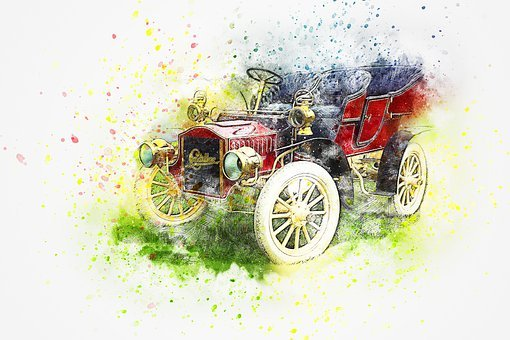 Car, Cadillac, Oldtimer, Watercolor, Vintage, Auto, Red
