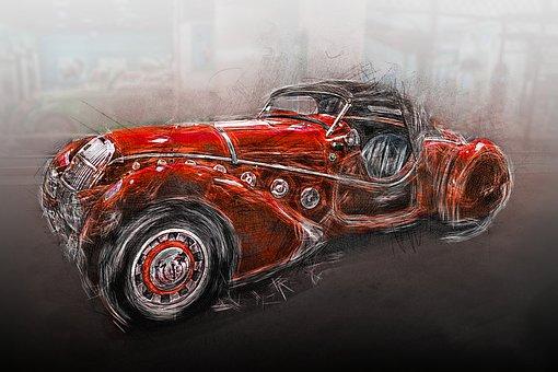Prototype, Car, Peugeot, France, Automobile, Red