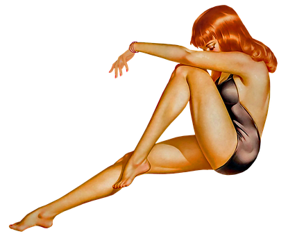 Pin Up Girl, Redhead, Woman, Sexy, Pinup, Retro