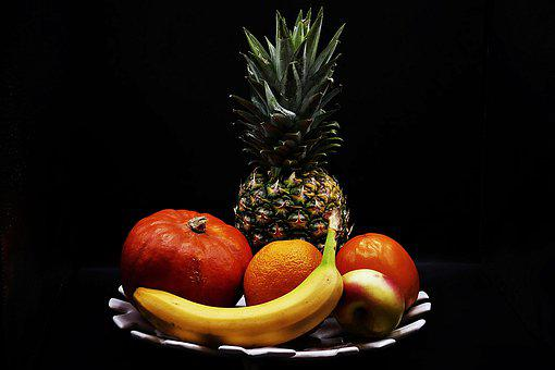 Fruit Plate, Pineapple, Banana, Pumpkin, Orange, Food
