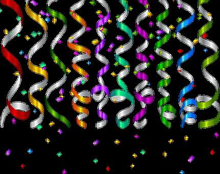 Red Confetti, Confetti, Ribbon, Red, Colorful, Color