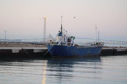 The Port Of Santa Maria, Boats, Craft, River, Guadalete