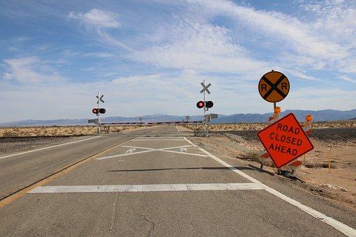 Usa, California, America, Clouds, Road, Blocked, Closed
