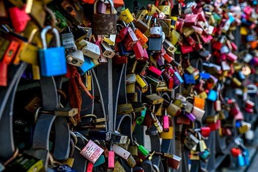 Padlocks, Bridge Railing, Love, Connectedness, Romantic
