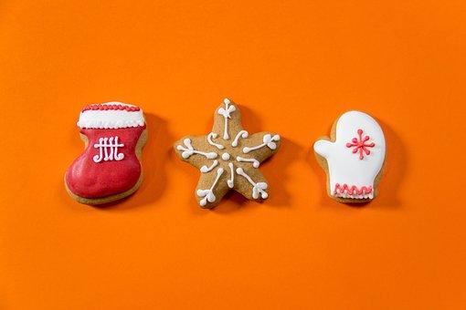 Gingerbread, Color, Set, Orange, Christmas Decorations