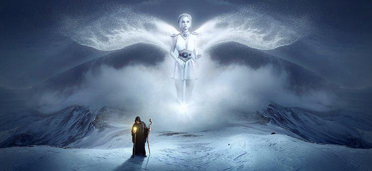 Fantasy, Angel, White, Mountain, Snow, Man, Light, Wing