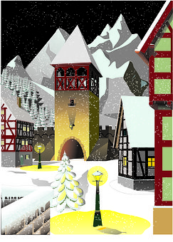 Graphic, Winter, Marketplace, City Gate, Snowflakes