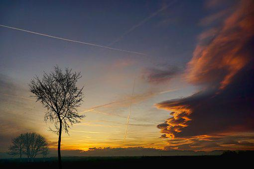Winter, Nature, Sunset, Clouds, Dramatic, Tree, Kahl