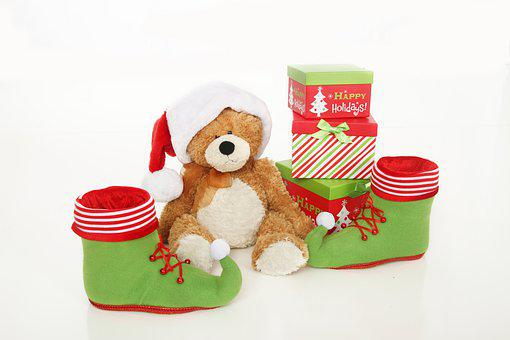 Christmas Decorations, Teddy Bear, Santa Hat, Gifts