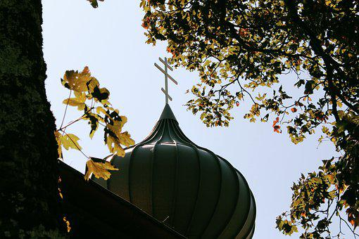 Church, Cross, Roof, Tree, Tribe, Leaves, Sky, Green