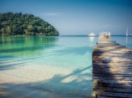 Beach, Dock, Bay, Tropical