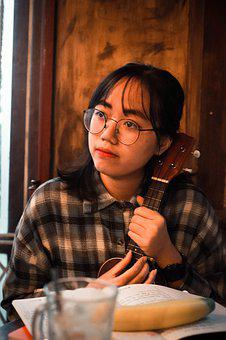 Girl, Guitar, Music, Ukulele, Cafe, Relax, Learning